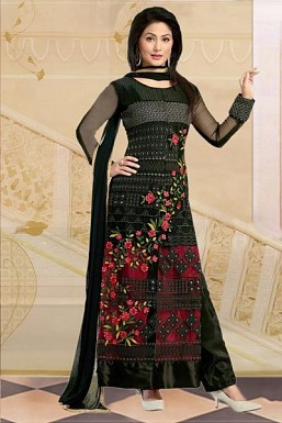 Beautiful Black Georgette Semi-STITCHED Salwar Suit @ Rs927.00