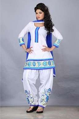 Beautiful White Cotton Salwar Suit @ Rs349.00