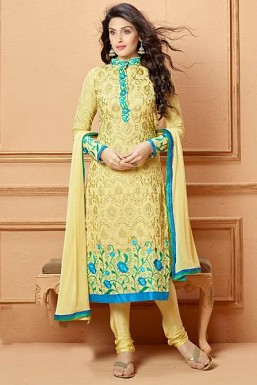 Yellow Georgette Semi-stiched Suit@ Rs.1947.00