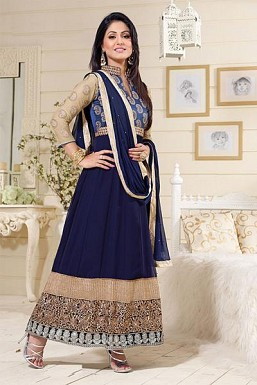 Beautiful Blue Georgette Anarkali Suit @ Rs866.00