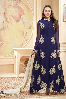 Stunning Blue Georgette Anarkali Suit @ Rs1669.00