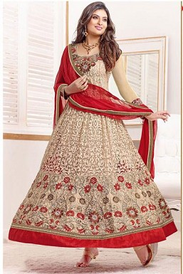 Cream Georgette Salwar Suit @ Rs1391.00