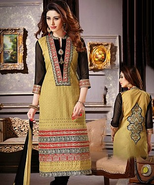 Cotton Embroidery Straight Suit With Duppta @ Rs647.00