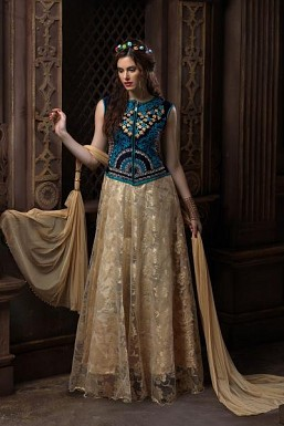 Beautiful Cream Net Anarkali Suit @ Rs4079.00