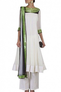 White Georggete Semi-Stitched Salwar suit @ Rs2040.00