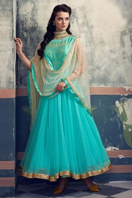 Stunning Light Green Net Anarkali Suit@ Rs.3523.00