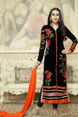 Beautiful Black Georgette Semi-Stitched Salwar Suit @ Rs866.00