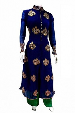 Beautiful Blue Georgette Semi-Stitched salwar Suit @ Rs1669.00