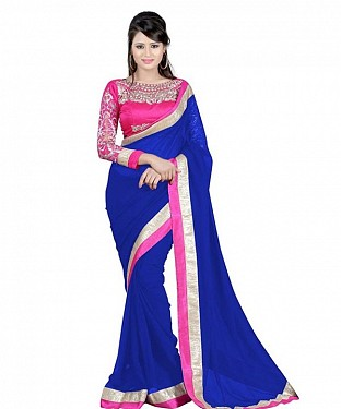 Beautiful Blue Embroidery Chiffon Saree @ Rs656.00