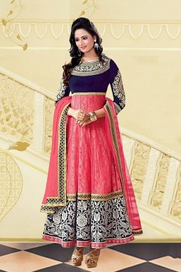 Beautiful Pink & Blue Georgette Semi-stitched Salwar Suit @ Rs557.00