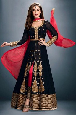 Beautiful Black Georgette semi-stitched Salwar suit @ Rs989.00