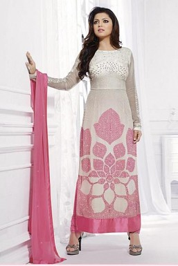 Beautiful White & Pink Georgette Semi-stitched Anarkali Suit@ Rs.1799.00