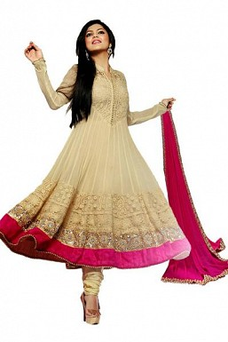 Beautiful Cream Net Anarkali Suit @ Rs1051.00