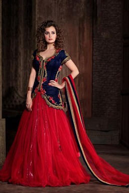 Stunning Blue & Red Georgette Semi-Stitched Anarkali Suit@ Rs.4265.00