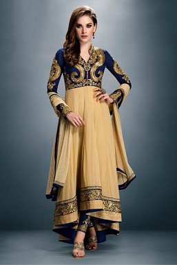 Blue & Cream Georgette Semi-stitched Salwar Suit @ Rs989.00
