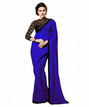 Beautiful Blue Lace Work Chiffon Saree @ Rs557.00