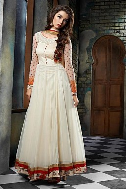 Beautiful OffWhite Soft Net Semi-Stitched Salwar Suit @ Rs2503.00
