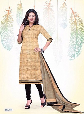 Cream Cotton Printed Un-stitched Salwar Suits @ Rs1235.00