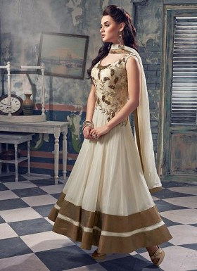 Beautiful OffWhite Georgette Semi-Stitched Salwar Suit@ Rs.3708.00