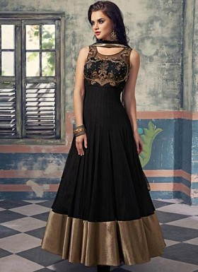 Stunning Black Soft Net Semi-Stitched Salwar Suit@ Rs.3820.00