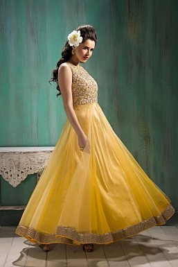 Beautiful Yellow Net Semi-Stitched Salwar Suit @ Rs2540.00