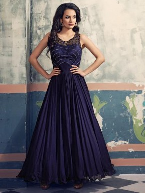 Beautiful Blue Georgette Semi-Stitched Salwar Suit @ Rs3894.00