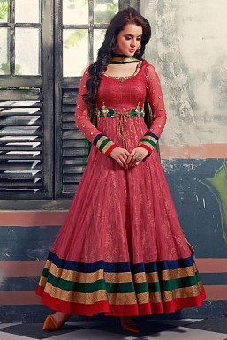 Stunning Pink Soft Net Semi-Stitched Salwar Suit @ Rs3987.00