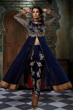 Stunning Blue Soft Net Semi-Stitched Salwar Suit@ Rs.3430.00