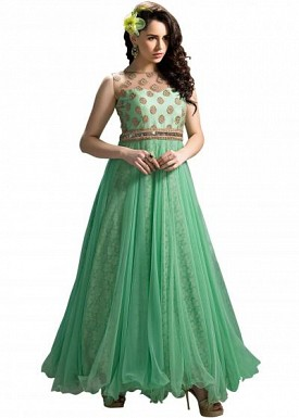 Stunning Green Soft Net Semi-Stitched Salwar Suit @ Rs2874.00
