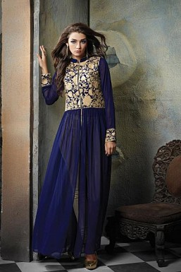 Beautiful Blue Georgette semi-Stitched Salwar Suit @ Rs2689.00