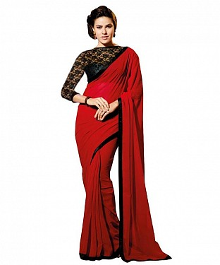 Beautiful Red Lace Work Chiffon Saree @ Rs557.00