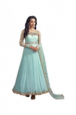 Beautiful Light Blue Georgette Semi-Stitched salwar Suit@ Rs.3430.00