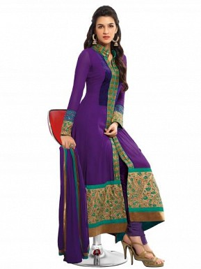 Purple Semi Stitched Georgette Salwar Suit @ Rs1484.00