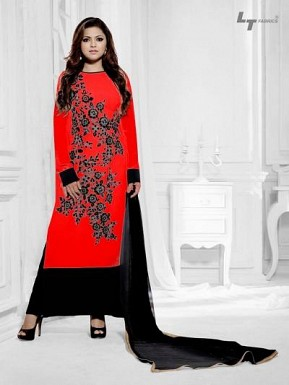Beautiful Red Geaorgette Semi-Stitched Salwar Suit@ Rs.1484.00