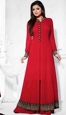 Beautiful Red Geaorgette Semi-Stitched Salwar Suit@ Rs.1669.00