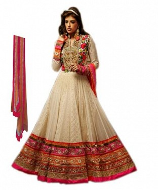 Beautiful OffWhite Georgette Semi-Stitched Salwar Suit @ Rs1854.00