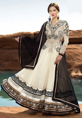 Stunning Black & White Georgette Semi-stitched Salwar Suit @ Rs1762.00