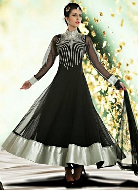 Stunning Black Net Semi-Stitched Salwar Suit @ Rs1391.00
