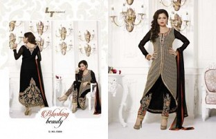 Stunning Black Georgette Semi-Stitched Salwar Suit@ Rs.1854.00