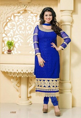 Stunning Blue Georgette Semi-Stitched Salwar Suit@ Rs.1484.00