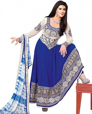 New Beautiful Fancy Blue and White Anarkali suit @ Rs1422.00