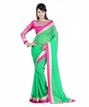 Beautiful Green Embroidery Chiffon Saree @ Rs656.00