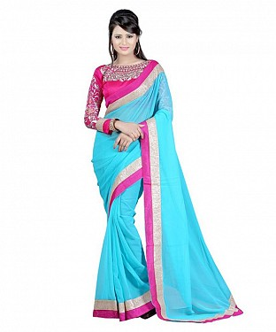 Beautiful Blue Embroidery Chiffon Saree@ Rs.656.00