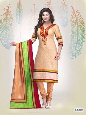 New Beige Cotton Printed Un-stitched Salwar Suits @ Rs1235.00