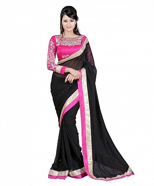 Beautiful Black Embroidery Chiffon Saree@ Rs.656.00