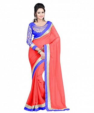 Beautiful Peach Embroidery Chiffon Saree@ Rs.656.00