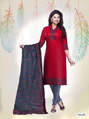 New Red Cotton Printed Un-stitched Salwar Suits @ Rs1235.00