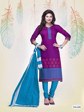 New Purple Cotton Printed Un-stitched Salwar Suits@ Rs.1235.00