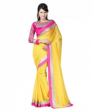 Beautiful Yellow Embroidery Chiffon Saree@ Rs.656.00