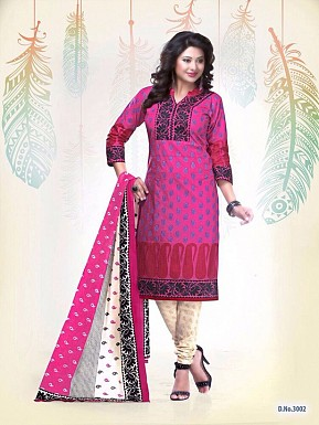 New Pink Cotton Printed Un-stitched Salwar Suits @ Rs1235.00